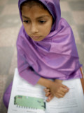 Pakistani Girl Takes Her Daily Lessons at a Public Park in Islamabad Photographic Print