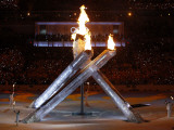 Olympic Cauldron after Being Lit at the Opening Ceremony for the Vancouver 2010 Winter Games Photographic Print