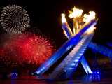 Fireworks after the Olympic Cauldron was Lit at Opening Ceremony of 2010 Olympic Winter Games Photographic Print