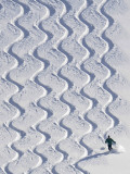 Skier Leaves His Trace in the Deep Snow on a Hill Near St. Maergen in the Black Forest of Germany Photographic Print