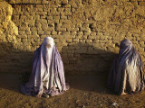 Afghan Women Clad in Burqas Beg for Alms Along a Street in Kabul, Afghanistan Photographic Print