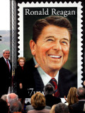 Former First Lady and Giant Replica of US Postage Stamp Honoring Late Husband, Ronald Reagan Photographic Print