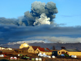 Volcano in Southern Iceland's Eyjafjallajokull Glacier Sends Ash into the Air Just Prior to Sunset Photographic Print