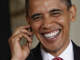 President Barack Obama Smiles as He Participates in a Joint News Conference in the White House Photographic Print