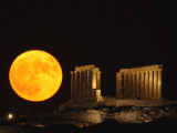 Full Moon Rises Behind the Ancient Temple of Posseidon, in Sounio Photographic Print