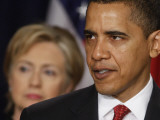 President Obama, Hillary Clinton at His Side, Announces New Strategy for Afghanistan and Pakistan Photographic Print