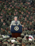 President Bush Speaks to Marines During a Visit to Camp Pendleton Base in San Diego Photographic Print