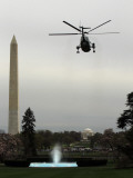 Marine One, with President Barack Obama Aboard, Leaves the White House in Washington Photographic Print