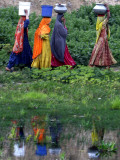 Pakistani Women Walking Home after Collecting Fresh Water on the Outskirts of Islamabad Valokuvavedos