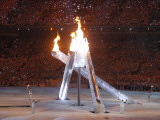 Wayne Gretzky and Others with Burning Olympic Cauldron, Opening Ceremonies for the XXI Winter Games Photographic Print