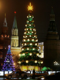 Christmas Trees Rise Just Outside the Moscow Kremlin Photographic Print