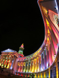 Annual Holiday Light Display Illuminates the Denver County Building, Seen Through a Fisheye Lens Photographic Print