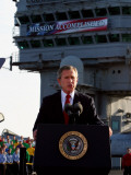 President Bush Declares the End of Major Combat in Iraq as He Speaks Aboard the Aircraft Carrier Photographic Print