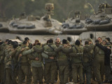Israeli Soldiers Chant Slogans after a Briefing before Entering Gaza on a Combat Mission Photographic Print