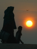 Women Walk Towards the River Ganges for Ritualistic Holy Morning Dip at Sunrise in Allahabad, India Photographic Print