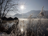 Sun Shines over Boat Houses on the Kochelsee Lake in Schlehdorf Near Murnau, Southern Germany Reproduction photographique