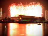 Fireworks are Seen over the BC Place after the Opening Ceremony for the Vancouver 2010 Olympics Photographic Print