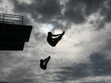 Colombia's Juan Guillermo Uran and Victor Ortega Dive to Win Gold in Men's Springboard Diving Event Photographic Print