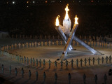 Olympic Flame is Lit During the Opening Ceremony for the Vancouver 2010 Olympics Photographic Print