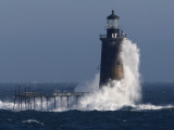 Heavy Surf Slams into the 72-Foot-Tall Ram Island Ledge Light Photographic Print