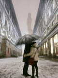 Couple Kiss Each Other During a Snowfall in Florence, Italy Photographic Print