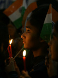 School Children Hold Flags and Candles, Commemorate Terrorist Attack, India's Parliament, Amritsar Photographic Print