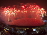 Fireworks are Seen over Vancouver's BC Place During the Opening Ceremony for 2010 Winter Olympics Photographic Print
