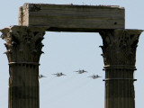 Greek Fighter Jets, Seen Through the Temple of Zeus at a Greek Independence Day Parade in Athens Photographic Print