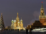 Walking Past a Huge Christmas Tree in Red Square in Moscow Photographic Print