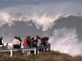 Spectators Line the Bluff at La Jolla Cove to Get a Good Look at the Large Surf in San Diego Photographic Print