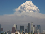 Smoke from the Station Fire Rises over Downtown Los Angeles Photographic Print