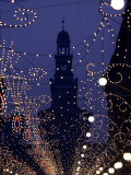 Silhouette of the Sforza Castle is Seen Through Christmas Decorations, in Milan, Italy Photographic Print