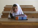 Girl Sits Alone in Her Class Room During a Break in Aftabachi School in Eastern Afghanistan Photographic Print