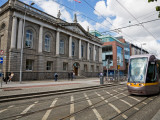 Modern Luas Tram in Front of Iveagh House 1730, Dublin, Ireland Photographic Print