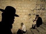Ultra Orthodox Jewish Men Pray at Joseph's Tomb in the West Bank City of Nablus Photographic Print