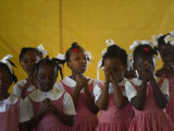 School Girls Pray before Class at the Sacred Heart of Turgeau School in Port-Au-Prince Photographic Print