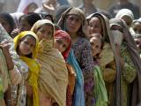 Pakistani Women Queue Up to Get Subsidized Sacks of Flour for the Holy Month of Ramadan Photographic Print