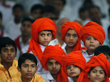 Children Attend a Function by Indian Spiritual Leader Sathya Sai Baba in New Delhi Photographic Print