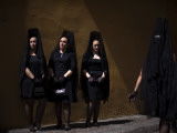Women Wearing the Traditional Mantilla in Front of La Macarena Church in Seville, Spain Photographic Print