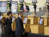 President Obama and First Lady File Past Crosses at a Memorial for Victims of Fort Hood Shooting Photographic Print