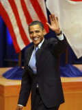 President Barack Obama Acknowledges to the Crowd after His Speech on Asian Policy in Tokyo, Japan Photographic Print