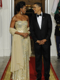 President Obama and First Lady before Welcoming India's Prime Minister and His Wife to State Dinner Photographic Print