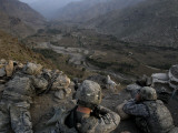 US Soldiers Take an Overwatch Position on a Mountain Top in the Pech Valley, Afghanistan Photographic Print
