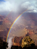 Double Rainbow Forms at Hopi Point, after a Rain Shower at Grand Canyon National Park in Arizona Photographic Print