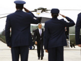 President Barack Obama Walks Towards Air Force One at Andrews Air Force Base Photographic Print