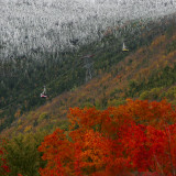 Tram Cars Take Tourists Up Cannon Mountain in New Hampshire as Snow Meets with Changing Leaves Photographic Print