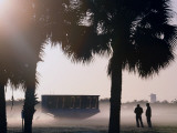 Taking Photos in the Fog Near the Countdown Clock for Space Shuttle Discovery, in Cape Canaveral Photographic Print