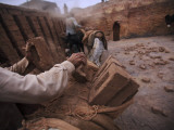 Workers Load the Bricks onto the Backs of Donkeys in Pakistan Photographic Print