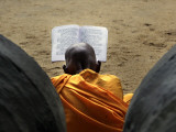 Sri Lankan Buddhist Monk Reads Holy Scriptures on First Day of their New Year at Kelaniya Temple Photographic Print