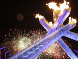 Olympic Flame Burns after the Opening Ceremony of the Vancouver 2010 Olympics Photographic Print